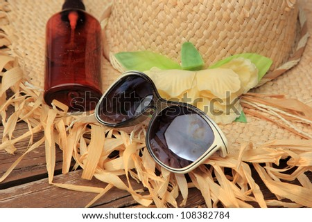 Straw Hat, Sun Glasses, Sun Block