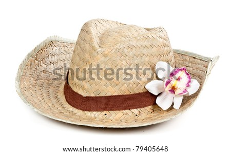 straw hat with a flower orchid isolated on a white background