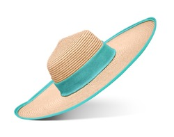 cba49452914 Straw hat with blue ribbon on isolated white background. Elegant hat with  wide margins.