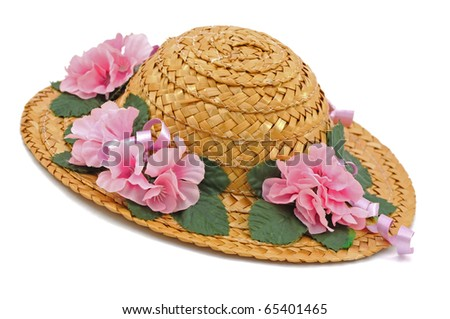 Straw Hat with Pink Flowers