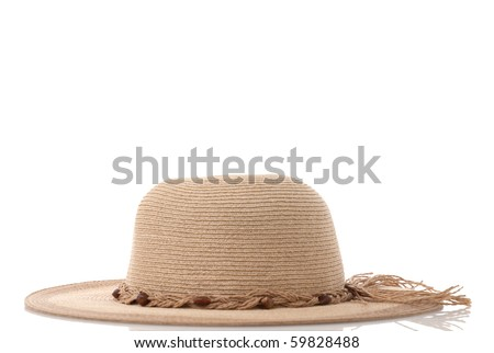 Straw hat with ribbon isolated on white background.