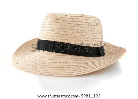 Straw hat withe black ribbon isolated on white background.