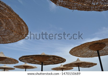 Straw parasols under a blue sky on a beach  in Egypt #1470150689