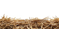 Straw pile isolated on white background and texture, clipping path