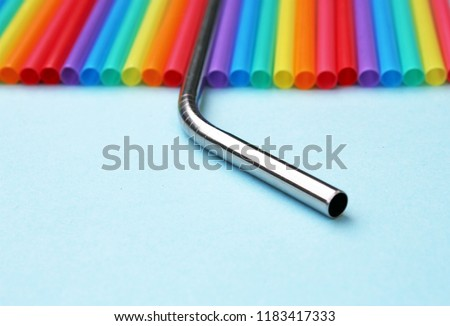 straw straws metal reusable plastic drinking background colourful  full screen