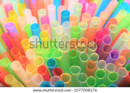 straw straws plastic drinking background colourful  full screen many group plastic single use ban banned in EU concept - stock photo, stock photograph image picture
