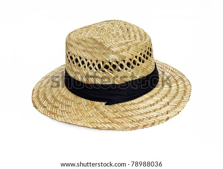Straw Woven Hat with Black Band