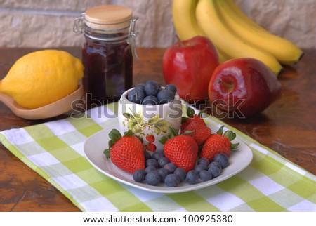 Strawberries and blueberries in season