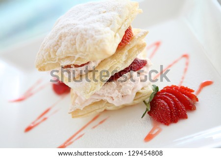 strawberries and custard millefeuille desert