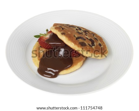 Strawberries and Pancakes with Chocolate Sauce