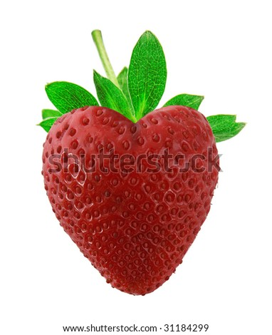 strawberries as heart in soft light