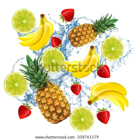 Strawberries, bananas, limes and pineapples water splash. Tropical  fruits #358761179