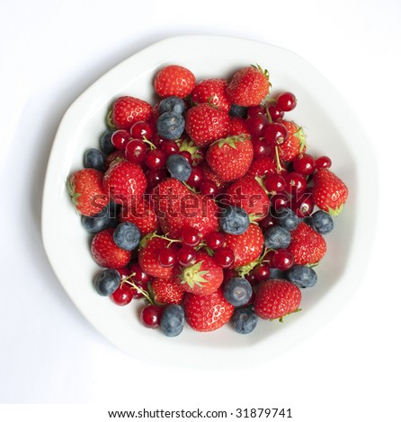 Strawberries, bilberries, and red currants fruit mix