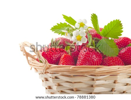 Strawberries in a basket on a white background