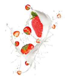 Strawberries in cream splash, isolated on white background