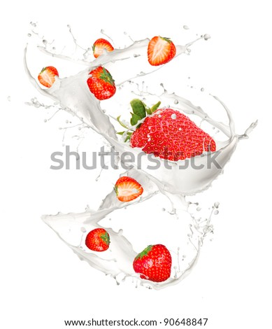 Strawberries in cream splash, isolated on white background
