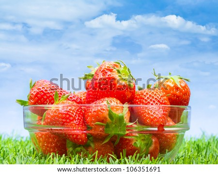 Strawberries in glass bowl on grass against blue sky