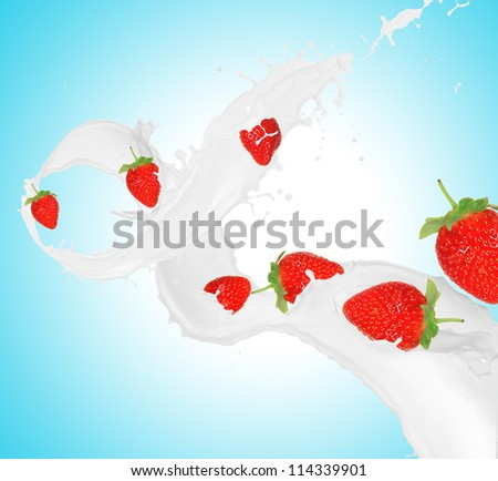 Strawberries in milk splash
