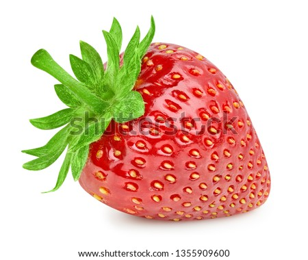 Strawberries isolated on white background. Ripe fresh strawberry Clipping Path. Professional studio macro shooting #1355909600