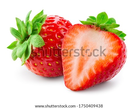 Strawberries isolated. Strawberry isolate. Whole, half, cut strawberry on white. Strawberries isolate. Side view sliced strawberries. Full depth of field. With clipping path.