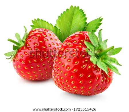 Strawberries isolated.Strawberry with leaf isolate. Two whole strawberries on white. Side view. Full depth of field.