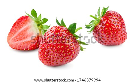 Strawberries isolated. Strawberry with leaf isolate. Whole, half, cut strawberry on white. Three strawberries isolate. Side view organic strawberries.