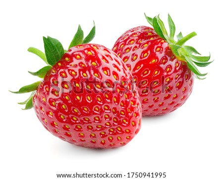 Strawberries isolated. Strawberry with leaf isolate. 2 whole strawberries on white. Two strawberries isolate. Side view organic strawberries. Full depth of field.