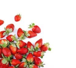Strawberries on white background.