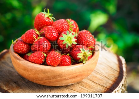 Strawberries. Organic Berries Closeup. Ripe Strawberry In The Fruit Garden, Old Wooden Bowl Filled With Succulent Juicy Fresh Ripe Red Strawberries On An Old Birch Stump. Toned Image