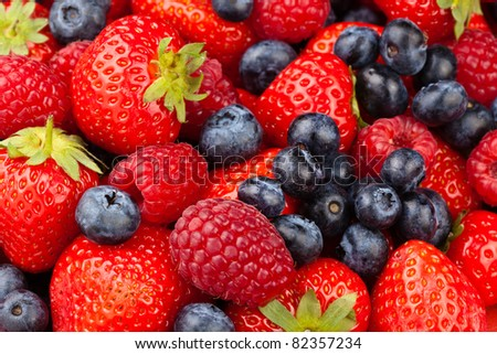 Strawberries Raspberries and Blueberries