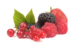 Strawberries, red currants, raspberries and mulberry on a white background