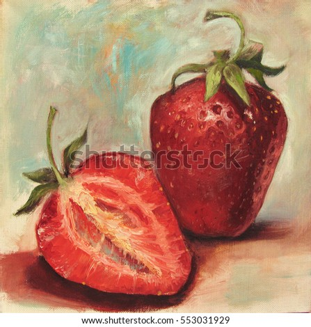 Strawberries. Whole and half of the strawberry. Oil painting on canvas illustration, multicolored light background.