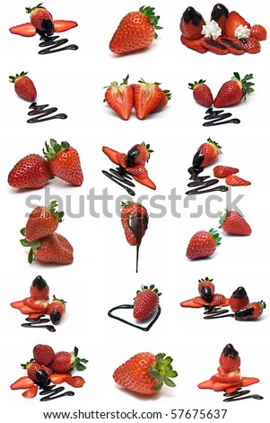strawberries with chocolate collection isolated on a white background.