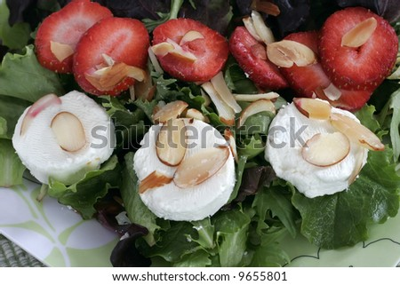 strawberry, almond and goat cheese salad