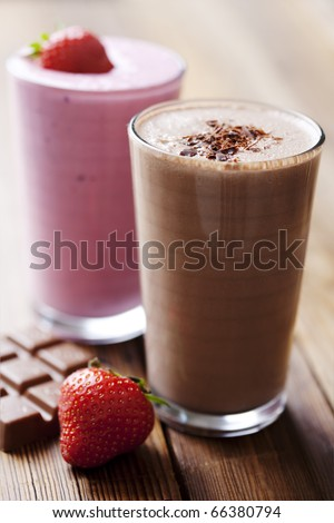 strawberry and chocolate milk shake