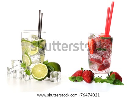 strawberry and classical mojito cocktail on white background