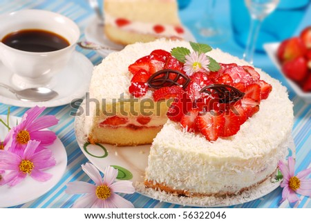 strawberry and whipped cream torte with coconut topping for party