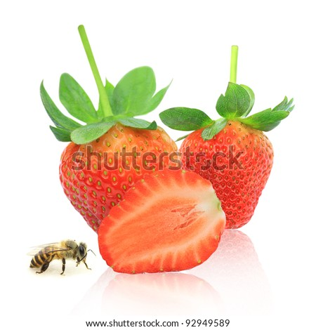 Strawberry berry with green leaf and bee isolated on white background