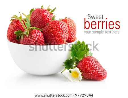 strawberry berry with green leaf and flower isolated on white background - stock photo