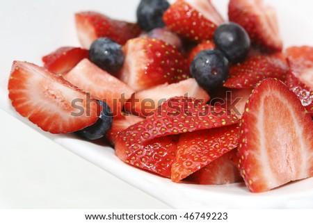 strawberry/blueberr y salad - stock photo