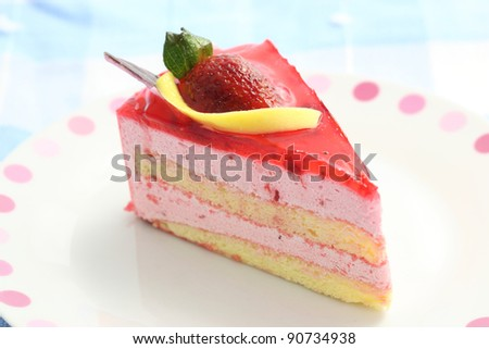 Strawberry Cake isolated in white background