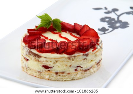 strawberry cake isolated on white