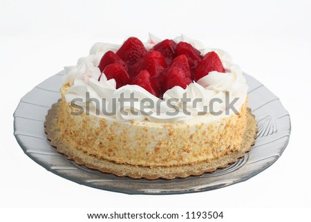 strawberry cake on a white background