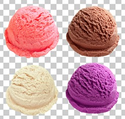 strawberry, chocolate, vanilla and blueberry ice cream scoops or balls on isolated background including clipping path.