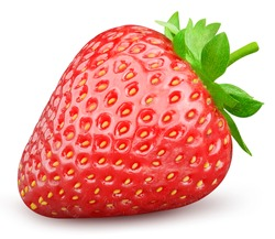 Strawberry clipping path. Strawberry fruit with strawberry leaf isolated on white background. High End Retouching