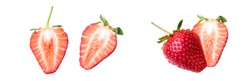 Strawberry cut into two pieces isolated on white background