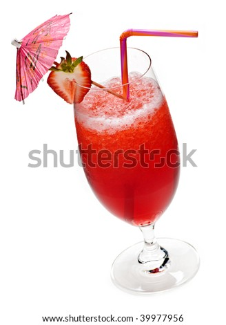 Strawberry daiquiri in glass isolated on white background with umbrella