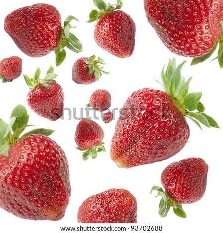 strawberry falling rain, isolated on white