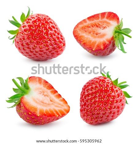 Strawberry. Fresh ripe berry isolated on white background. Collection.