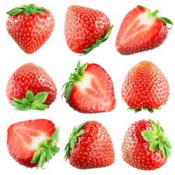 Strawberry. Fruits on white. Collection
